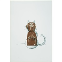 dog and cat by william wegman