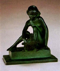 girl seated with turtle by mabel viola harris conkling