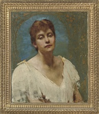 portrait of lily, bust-length, in a white dress by jack