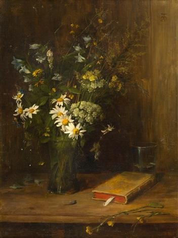 stillleben mit feldblumen in einer glasvase by hans thoma