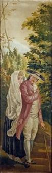 caballero con baston y dama by francisco-javier amerigo y aparici