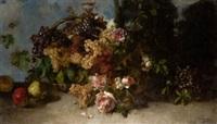 cesto con flores y uvas by julia alcayde y montoya
