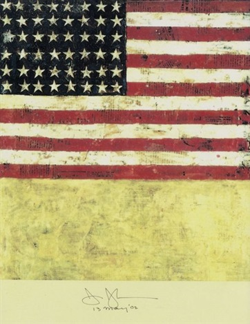 american flag inkjetprint auf festem by jasper johns