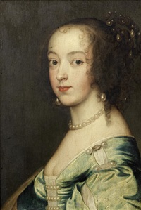 portrait of lady anne carey, countess of clanbrassil, bust-length, in a blue dress by sir anthony van dyck