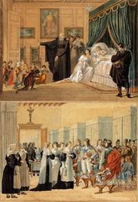 louise de marillac sur son lit de mort avec saint vincent de paul à ses côtés (+ louise de marillac visitant un hôpital; pair) by hippolyte lecomte