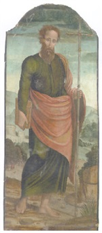 a male saint holding a cross, a landscape beyond by raffaelino del garbo