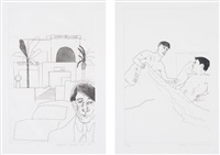 portrait of cavafy ii; and plate 5, from illustrations for 14 poems by c.p. cavafy by david hockney