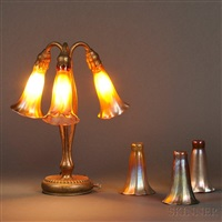 three-light lily lamp (4 works) by tiffany studios