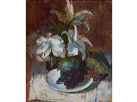 still life with grapes and by irmin henkel