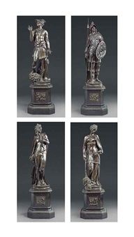 figures of apollo, mercury, pallas and peace (set of 4) by jacopo sansovino