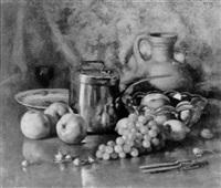 stilleven met druiven, noten en appels by andré broedelet