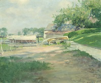 boathouse, likely wickford, r.i by guy rose