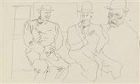 drei männer im zugabteil by george grosz