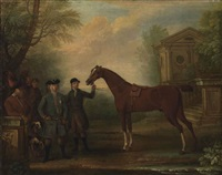 sir robert walpole, 1st earl of orford (1676-1745), with a groom holding a bay hunter, other figures, horses and hounds, in a landscape by john wootton