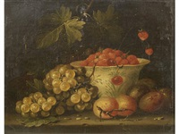 a dish of wild strawberries with grapes and plums on a stone ledge by jan pauwel gillemans the younger