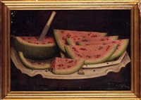watermelon wedges on a white platter on a marble-topped table by daniel mcdowell