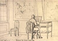 a man playing a harpsichord in an interior by christiaan andriessen