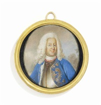 frederick i (1676-1751), king of sweden, in gilt-edged silver breastplate, gold embroidered blue coat with ermine lining, long powdered curling wig by niclas lafrensen the elder