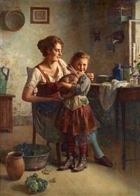 kaninen/mor med barn by edmund adler