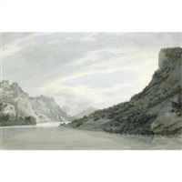 on the arve, near sallanches in savoy by john robert cozens