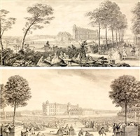 vue du château de chantilly et le jardin et l'orangerie du château de chantilly (2 works) by jacques rigaud