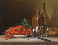 stillleben mit langusten, rettich und weinflasche by vinzenz kreuzer