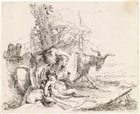 ninfa con piccolo satiro e due capre by giovanni battista tiepolo