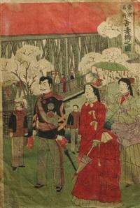 promenade at azumabashi (from the tokyo meisho series) by utagawa yoshitora