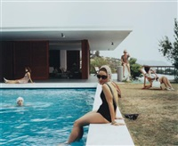 girls at the pool (video still from the rape of the sabine women) by eve sussman