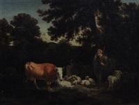 shepherd with sheep and cows by adriaen van de velde