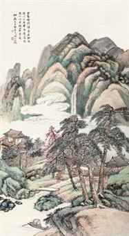 云山僧舍图 立轴 纸本 by wang kun
