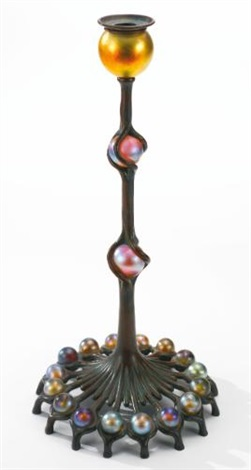jeweled candlestick with bobèche by tiffany studios