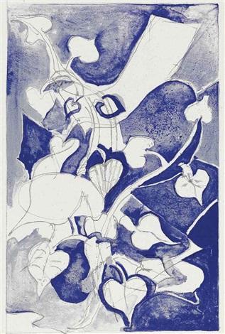 les paroles transparents (portfolio w/4 works) and untitled (suite of 4 works) by georges braque