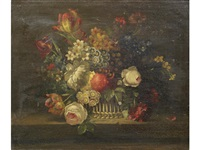 roses, narcissi, primulae and other flowers in a wicker basket on a table top by cornelis van spaendonck