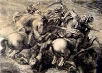 the battle of anghiari (after peter paul rubens, after leonardo da vinci) by gérard edelinck