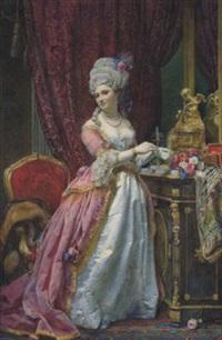 bildnis einer dame in ihrem eleganten boudoir by emanuel stöckler