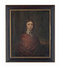 portrait of a young boy, half-length, in a brown wrap and a lawn collar by john hayls