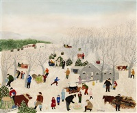 sugaring off, maple by grandma moses
