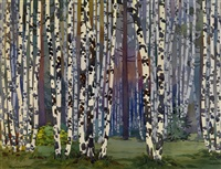 birch grove by sergei lodygin