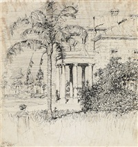 figure with house and tree by lloyd frederic rees