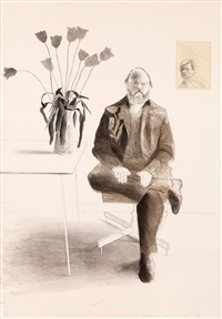 henry with tulips, from friends by david hockney