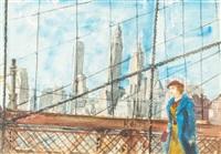 girl walking on the brooklyn bridge by reginald marsh