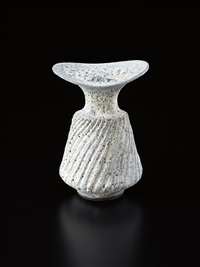 vase with fluted body by lucie rie