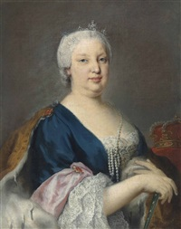 portrait of maria barbara of braganza, queen of spain (1711-1758), half-length, in a blue dress with an ermine-lined cloak, with a pearl necklace and a tiara by jacopo amigoni