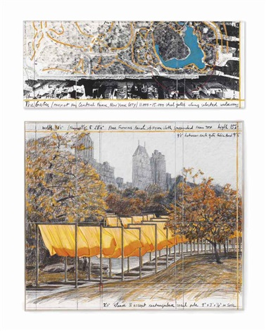 the gates project for central park new york city diptych by christo and jeanne claude