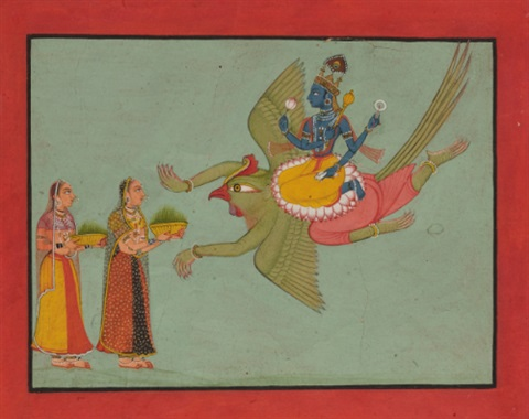 vishnu on his vehicle garuda by anonymous indian 18