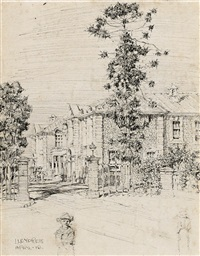 figures with house and trees by lloyd frederic rees