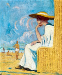 lady on the beach by aladar kacziany