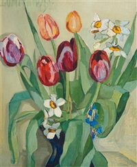 still life with tulips and daffodils by lydia dmitrievsky