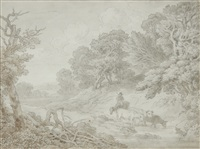 farmer and cattle fording a stream by john white abbott